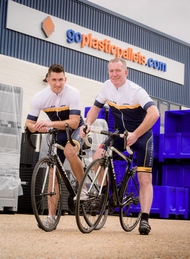 From left – Dan Starnes and Denzil Davies of Goplasticpallets.com are geared up to take on the Tour de Force challenge in aid of the William Wates Memorial Trust.