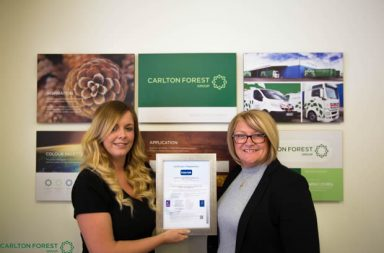 L- R:  Rachael Murray Business Development Manager and Diane Ward Operations Director at Carlton Forest Group proudly display their BRC Certification